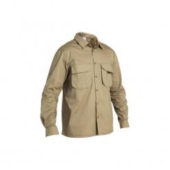 Koszula myśliwska długi rękaw 500. Brązowe koszule męskie na spinki marki SOLOGNAC, xl, z bawełny, z długim rękawem. Za 79,99 zł.