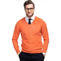 Sweter FRANCO 35-11. Brązowe swetry klasyczne męskie Giacomo Conti, m, z bawełny, z klasycznym kołnierzykiem. Za 99,00 zł.