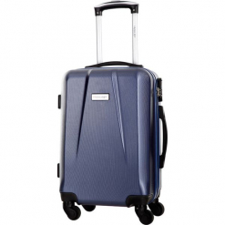 Walizka w kolorze granatowym - 34 l. Niebieskie walizki marki Travel One, z materiału. W wyprzedaży za 179,95 zł.
