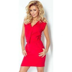 Czerwona Sukienka Mini z Zakładanym Dekoltem. Czerwone sukienki mini marki Molly.pl, l, z jeansu, biznesowe, z dekoltem na plecach, z długim rękawem. Za 145,90 zł.