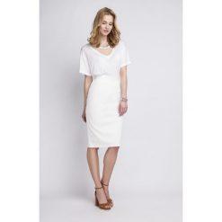 Spódniczki: Ołówkowa Biała Spódnica Midi z Wysokim Stanem