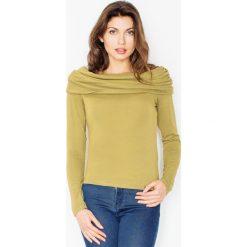 Bluzki damskie: Dzianinowa Zielona Bluzka z Obfitym Golfem