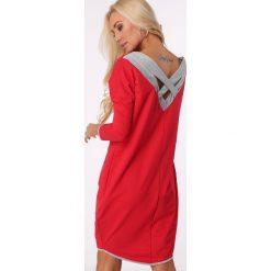 Sukienka skrzyżowana na plecach czerwona / silver 1656. Szare sukienki na komunię marki Sinsay, l, z dekoltem na plecach. Za 69,00 zł.