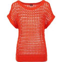 Swetry klasyczne damskie: Sweter w ażurowy wzór bonprix czerwona pomarańcza