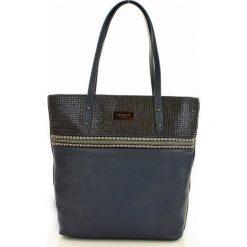 MONNARI Zdobiona torebka shopper bag  granatowy. Niebieskie shopper bag damskie Monnari, ze skóry, na ramię, zdobione. Za 169,00 zł.