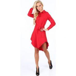 Sukienki: Sukienka z dłuższym tyłem czerwona 5061