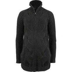 Sweter rozpinany w warkocze, z zamkiem bonprix antracytowy melanż. Szare kardigany damskie bonprix. Za 99,99 zł.