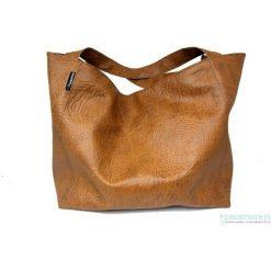 Torebki i plecaki damskie: Pojemna torba karmelowa z tłoczeniem