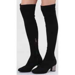 Czarne Kozaki Go Into Your Mind. Czarne buty zimowe damskie marki Kazar, ze skóry, na wysokim obcasie. Za 169,99 zł.