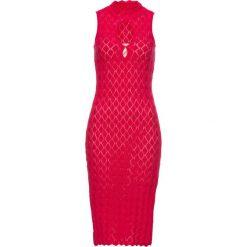 Sukienka bonprix czerwony. Zielone sukienki mini marki bonprix, w kropki, z kopertowym dekoltem, kopertowe. Za 69,99 zł.