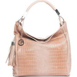 Torebki klasyczne damskie: Skórzana torebka w kolorze jasnoróżowym – 44 x 55 x 15 cm