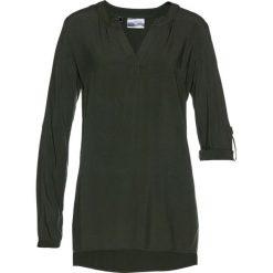 Tunika z wiskozy bonprix nocny oliwkowy. Białe tuniki damskie marki KALENJI, z materiału, z dekoltem na plecach. Za 74,99 zł.
