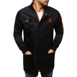 Kurtki męskie bomber: Kurtka męska bomber jacket wydłużona czarna (tx1606)