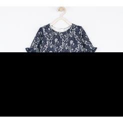 Sukienka. Niebieskie sukienki dziewczęce z falbanami ELEGANT BABY GIRL, w koronkowe wzory, z bawełny, eleganckie, z długim rękawem, długie. Za 119,90 zł.