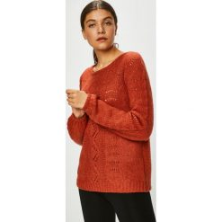 Vila - Sweter. Czerwone swetry klasyczne damskie Vila, l, z dzianiny, z okrągłym kołnierzem. Za 219,90 zł.