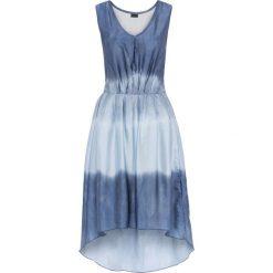 Sukienki: Sukienka z materiału w optyce jedwabiu bonprix niebiesko-jasnoniebieski