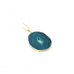 Naszyjnik Plaster Geody Agatu Morski złoto. Niebieskie naszyjniki damskie Brazi druse jewelry, na imprezę, pozłacane. Za 170,00 zł.