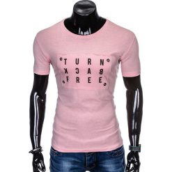 T-SHIRT MĘSKI Z NADRUKIEM S975 - PUDROWY RÓŻ. Czarne t-shirty męskie z nadrukiem marki Ombre Clothing, m, z bawełny, z kapturem. Za 29,00 zł.