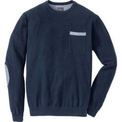 Sweter Regular Fit bonprix ciemnoniebieski. Niebieskie swetry klasyczne męskie bonprix, l, z kontrastowym kołnierzykiem. Za 89,99 zł.