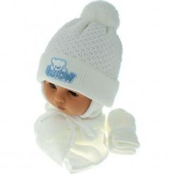 Czapka niemowlęca z szalikiem i rękawiczkami CZ+S+R 011A. Szare czapeczki niemowlęce Proman. Za 45,90 zł.