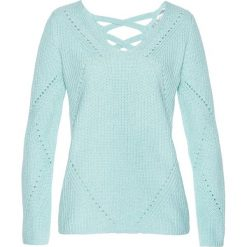 Sweter bonprix pastelowy miętowy melanż. Zielone swetry klasyczne damskie marki bonprix, z bawełny. Za 89,99 zł.