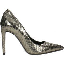 Czółenka INGRID. Szare buty ślubne damskie Gino Rossi, ze skóry, na wysokim obcasie, na szpilce. Za 149,90 zł.