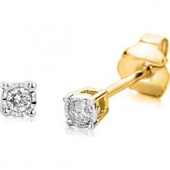 Złote kolczyki-wkrętki z diamentami. Szare kolczyki damskie REVONI, z diamentem, złote. W wyprzedaży za 603,95 zł.