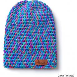 Czapka dziana KRAFF BLUE MIND handmade. Niebieskie czapki zimowe damskie Pakamera, z dzianiny. Za 109,00 zł.