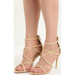 Beżowe Sandały Glorious. Brązowe rzymianki damskie Born2be, z materiału, na wysokim obcasie, na obcasie. Za 59,99 zł.