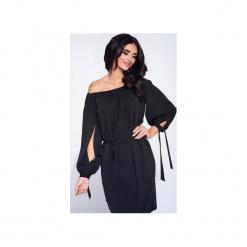 Sukienka wizytowa z rozcięciem na rękawie. Czarne sukienki balowe Bien fashion, na imprezę, l, w paski, z tkaniny. Za 129,00 zł.