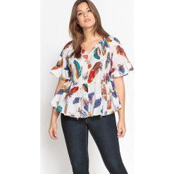 Bluzki asymetryczne: Bluzka, okrągłym dekolt, nadruk, krótki rękaw