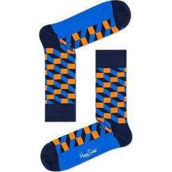 Happy Socks - Skarpety Filled Optic. Niebieskie skarpetki męskie Happy Socks, z bawełny. W wyprzedaży za 27,90 zł.