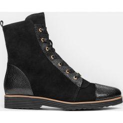 Czarne kozaki damskie. Czarne buty zimowe damskie marki Kazar, z nubiku, przed kolano, na wysokim obcasie. Za 649,00 zł.