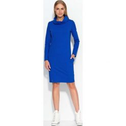 Chabrowa Sukienka Dresowa z Wywijanym Golfem. Niebieskie sukienki dresowe Molly.pl, na co dzień, l, sportowe, z golfem, proste. Za 87,90 zł.