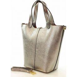 Shopper bag damskie: CLAIRE Torebka włoska shopper skórzany srebrna