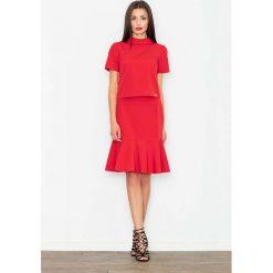 Spódniczki: Czerwona Ołówkowa Spódnica Midi z Falbanką