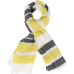 Szaliki damskie: Szal w kolorze biało-żółto-szarym – 180 x 70 cm