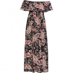 """Sukienka z dekoltem '""""carmen"""" bonprix czarny z nadrukiem. Czerwone sukienki z falbanami marki Mohito, l, z materiału, z falbankami. Za 179,99 zł."""