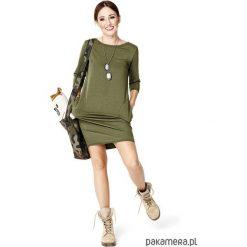 Sukienki hiszpanki: Sukienka taliowana z kieszeniami khaki