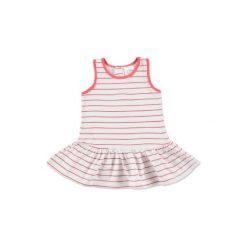 Anna & tom  Mini Girls Sukienka w paski kolor biało-różowy. Białe sukienki niemowlęce anna & tom, na lato, w paski, z bawełny, mini. Za 27,50 zł.