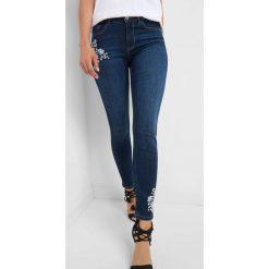 Jeansy skinny z haftem. Brązowe jeansy damskie skinny marki Orsay, s, z dzianiny. Za 139,99 zł.