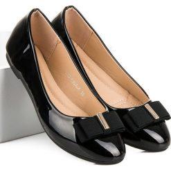 Baleriny damskie lakierowane: Czarne lakierowane baleriny COMER czarne