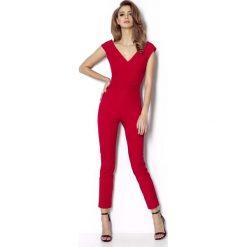 Kombinezony damskie: Czerwona Elegancki Kombinezon z Dekoltem w Szpic z Przodu i z Tyłu