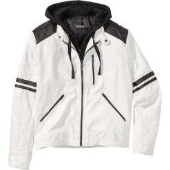 Kurtka ze sztucznej skóry Regular Fit bonprix biały. Białe kurtki męskie bomber bonprix, m, z dresówki. Za 129,99 zł.