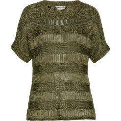 Swetry klasyczne damskie: Sweter ażurowy bonprix ciemnooliwkowo-złoty