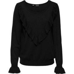 Swetry klasyczne damskie: Sweter z falbaną bonprix czarny