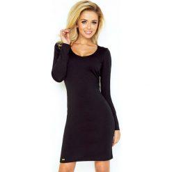 Sukienki: Czarna Sukienka Dopasowana z Długim Rękawem