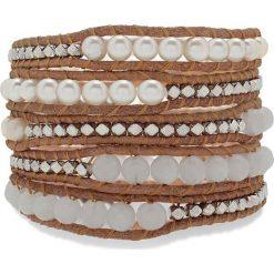 Bransoletki damskie: Skórzana bransoletka w kolorze jasnobrązowo-biało-srebrnym z perłami słodkowodnymi