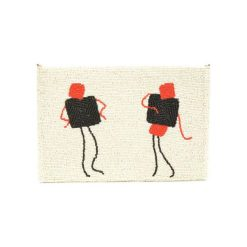 Kopertówki damskie: Kopertówka w kolorze białym ze wzorem – (D)25 x (S)15 cm