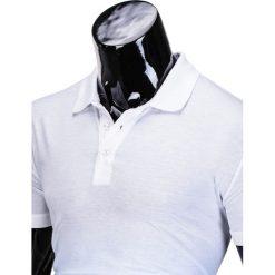 KOSZULKA MĘSKA POLO BEZ NADRUKU S834 - BIAŁA/BŁĘKITNA. Czarne koszulki polo marki Ombre Clothing, m, z bawełny, z kapturem. Za 29,00 zł.